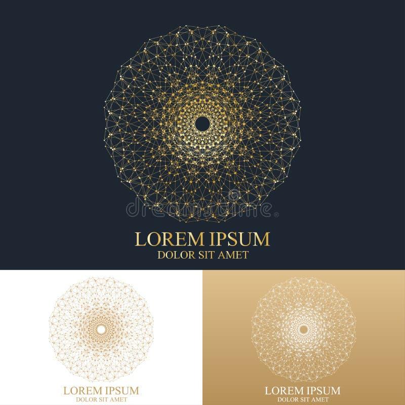 Forme ronde abstraite géométrique avec la ligne et les points reliés Composition graphique pour la médecine, la science, technolo illustration stock
