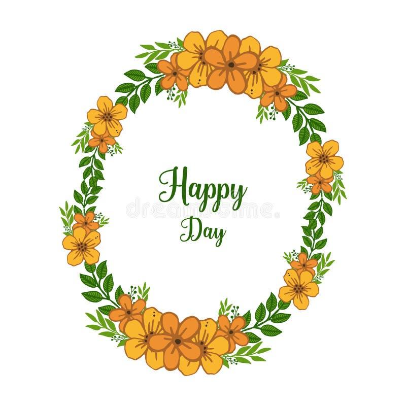 Forme ronde d'illustration de vecteur de cadre orange de fleur avec la conception du jour heureux de carte illustration de vecteur