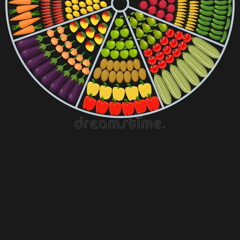 Forme ronde de partie supérieure du comptoir avec des fruits et légumes illustration libre de droits