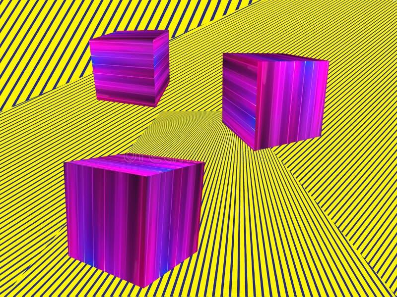 Forme rose de cubes sur le modèle rayé jaune Ba isométrique abstrait illustration stock