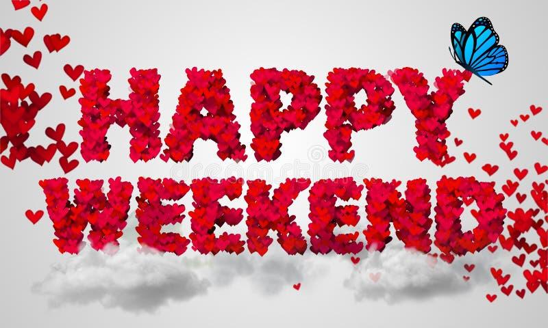 Forme rouge 3D de coeur de particules heureuses de week-end illustration stock