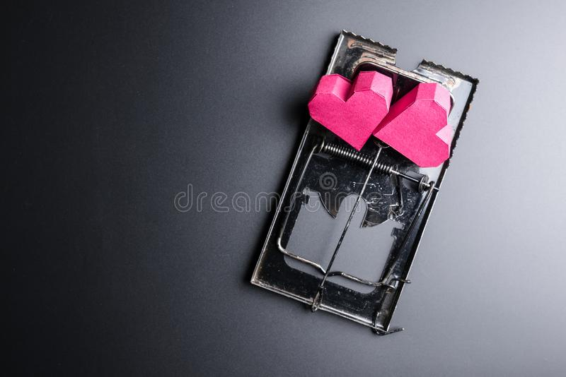 Forme rouge de coeur de boîte d'utilisation de souricière à clapet comme amorce sur les WI noirs de fond photo libre de droits