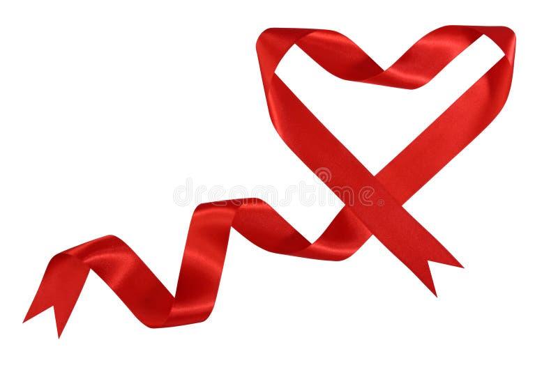 forme rouge de satin de bande de coeur images stock