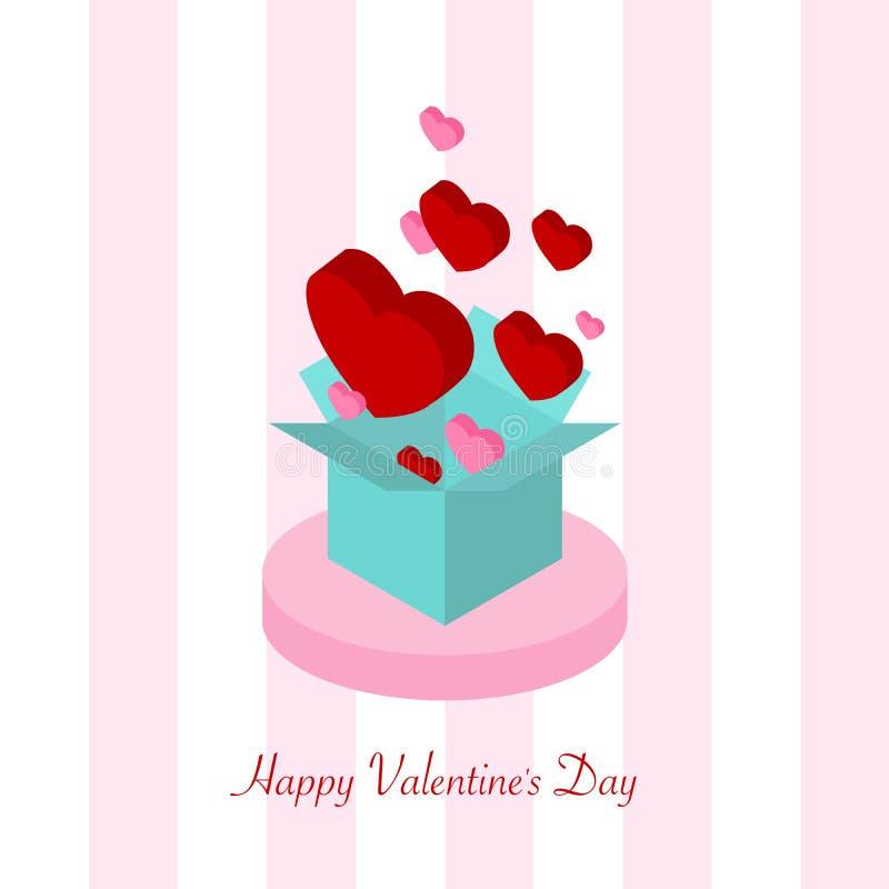 Forme rouge et rose de carte de Saint-Valentin de coeur de boîte-cadeau bleu sur le fond dépouillé blanc de modèle de rose illustration de vecteur