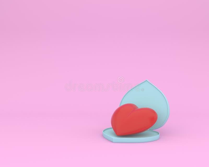 Forme rouge exceptionnelle ouverte de coeur sur le fond en pastel rose concept minimal d'occasion spéciale Idée de l'amour et du  illustration libre de droits