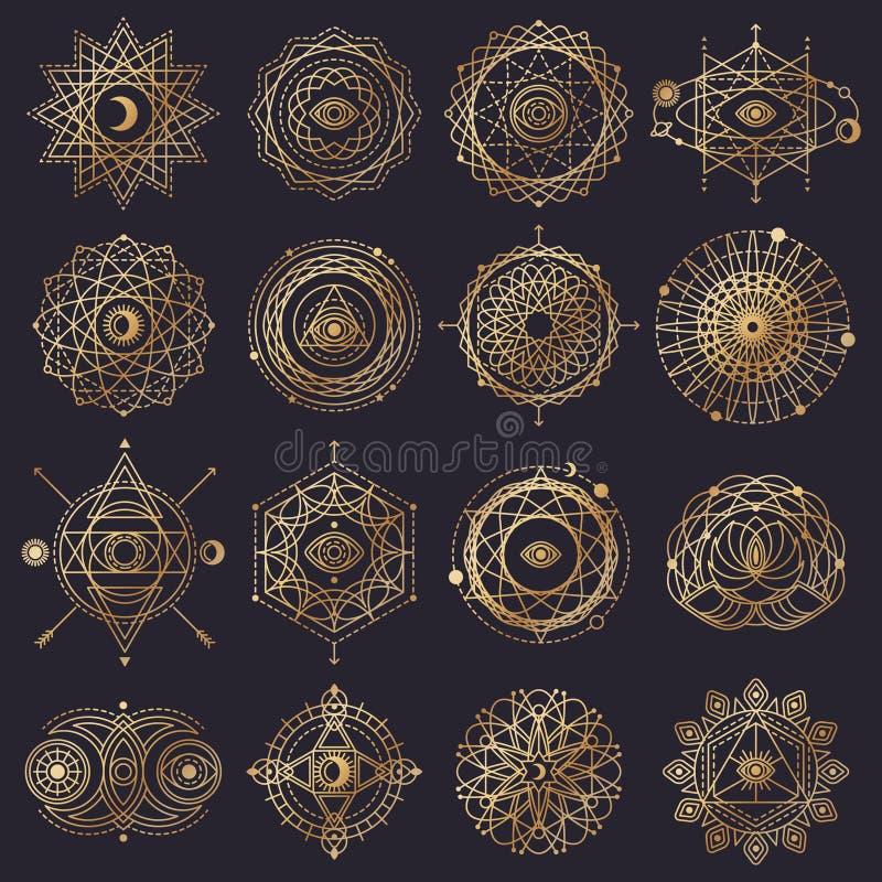 Forme sacre della geometria con l'occhio, la luna ed il Sun royalty illustrazione gratis