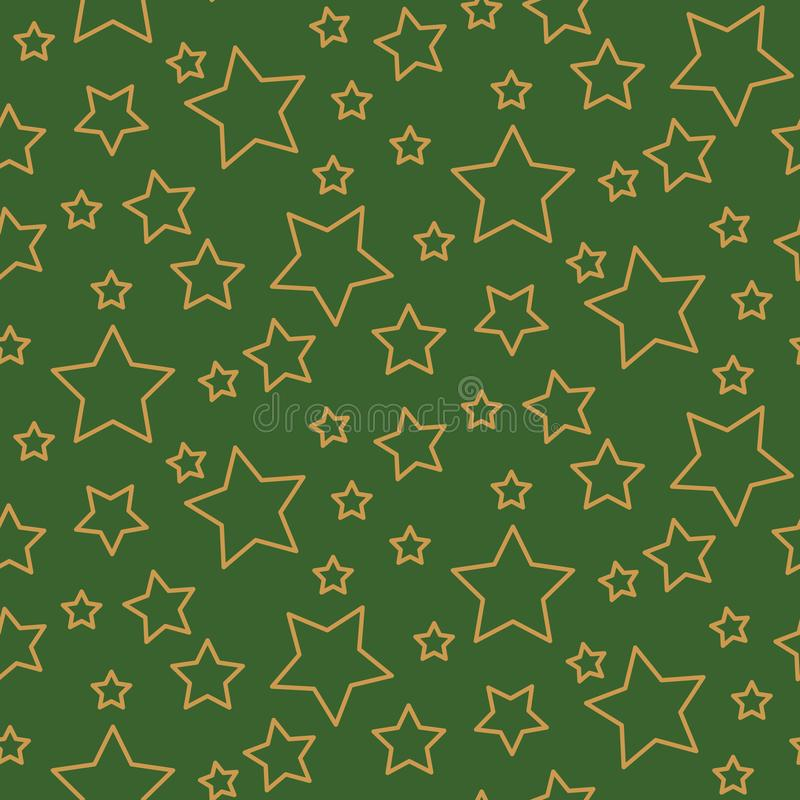 Forme senza cuciture di verde e dell'oro del fondo del modello delle stelle nel retro stile royalty illustrazione gratis