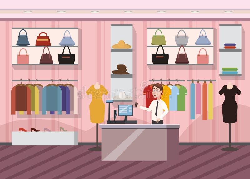 Forme a tienda el mercado estupendo alameda de compras femenina de ropa bandera interior con el ejemplo del vector de la historie libre illustration