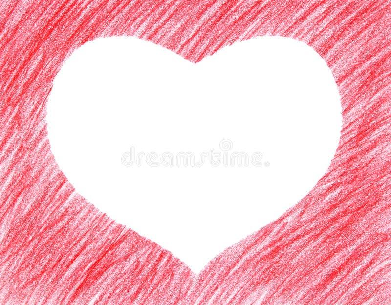 forme tirée de rouge de coeur de main photo libre de droits