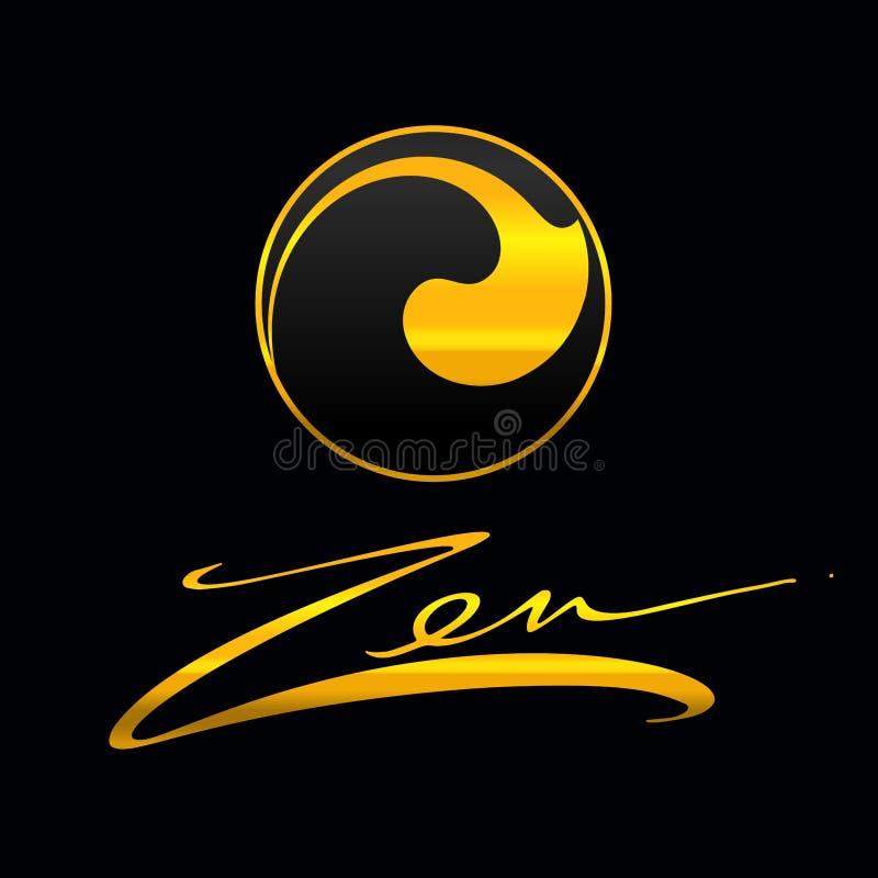 Forme tirée par la main de cercle Label circulaire, élément de conception, cadre Vague d'abrégé sur brosse Symbole noir de zen d' illustration libre de droits