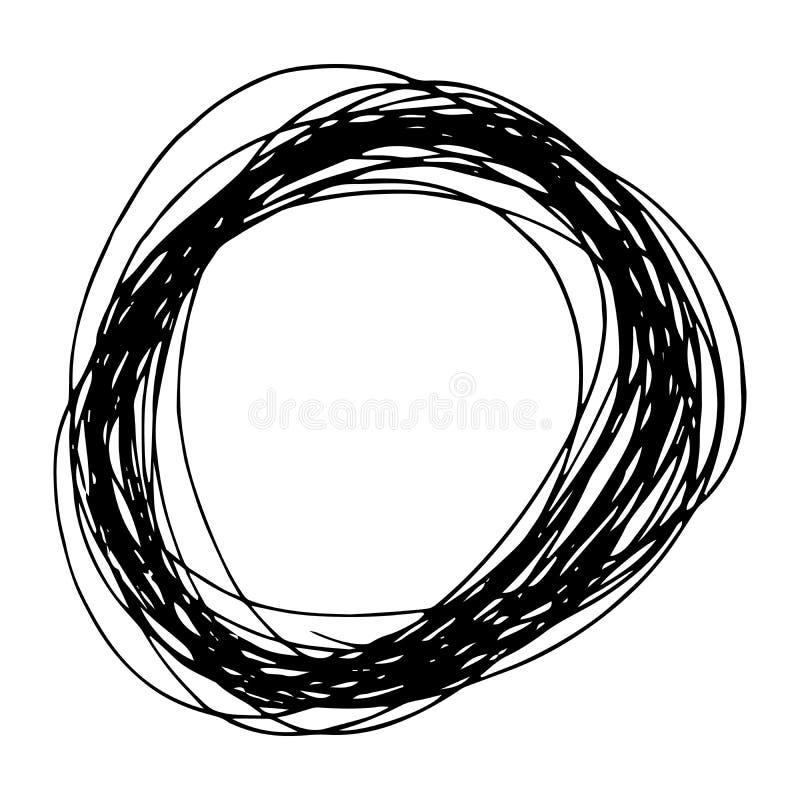 Forme tir?e par la main d'ellipse de griffonnage de crayon illustration stock