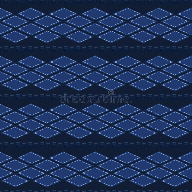 Forme tribali organiche dell'estratto del blu di indaco Fondo senza cuciture del modello di vettore Stile strutturato disegnato a royalty illustrazione gratis