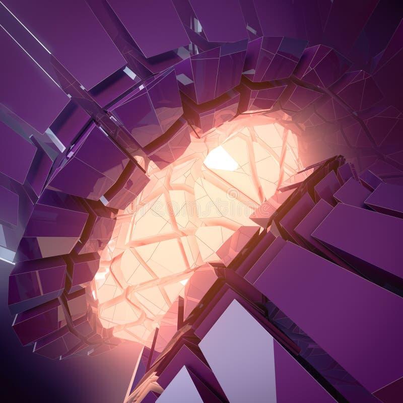 Forme tridimensionnelle en plastique brillante futuriste de violette foncée abstraite avec les lumières rougeoyantes oranges rend illustration stock