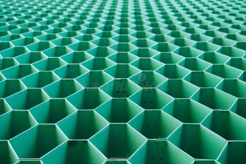 Forme verte d'acier d'hexagone image stock