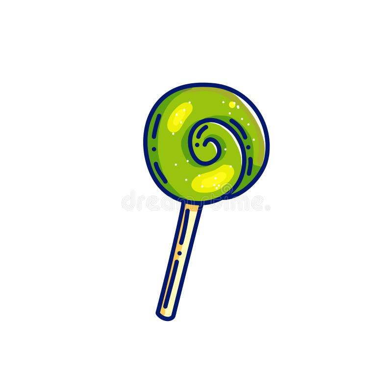 Forme verte de spirale de sucrerie de caramel illustration libre de droits