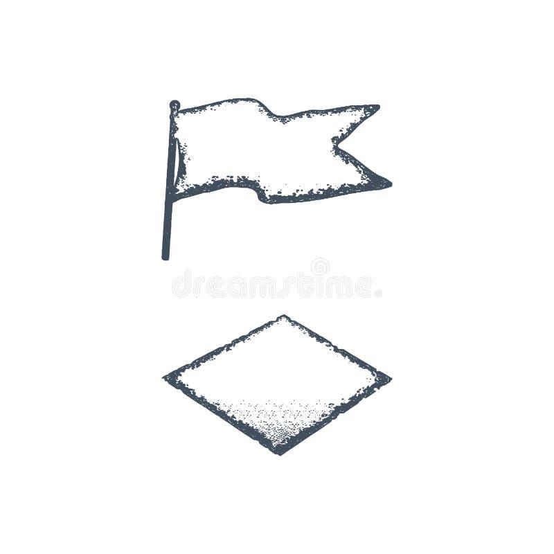 Forme vide tirée par la main de drapeau et de losange de vintage Rétro rendez le style rude Facile de changer la couleur Illustra illustration libre de droits