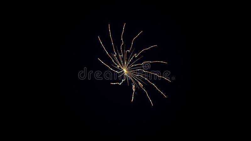 Formed beautiful bright fiery spiral on black background. Spiral with glowing yellow wavy lines appears and disappears royalty free stock image