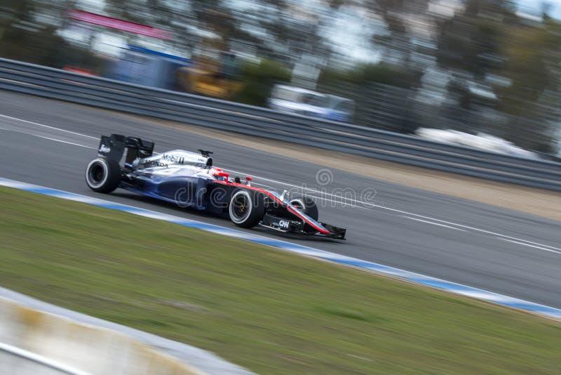 Formel 1, 2015: Jenson Button, McLaren-Honda lizenzfreie stockfotografie