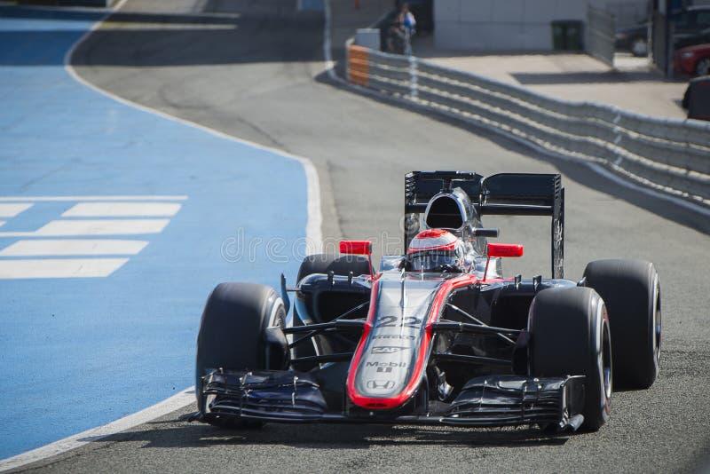Formel 1, 2015: Jenson Button, McLaren-Honda stockbilder