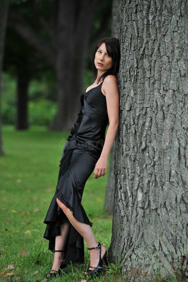 Formele vrouw door boom stock foto