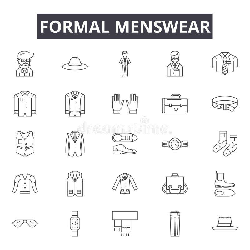 Formell menswearlinje symboler för rengöringsduk och mobil design Redigerbart slaglängdtecken Formellt menswearöversiktsbegrepp royaltyfri illustrationer