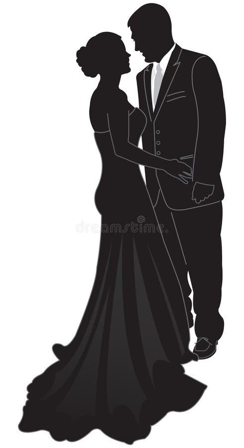 formell silhouette för par stock illustrationer