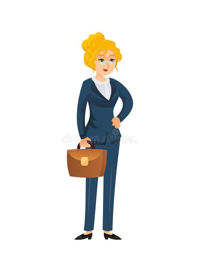 Formellt affärskvinnatecken på vit stock illustrationer