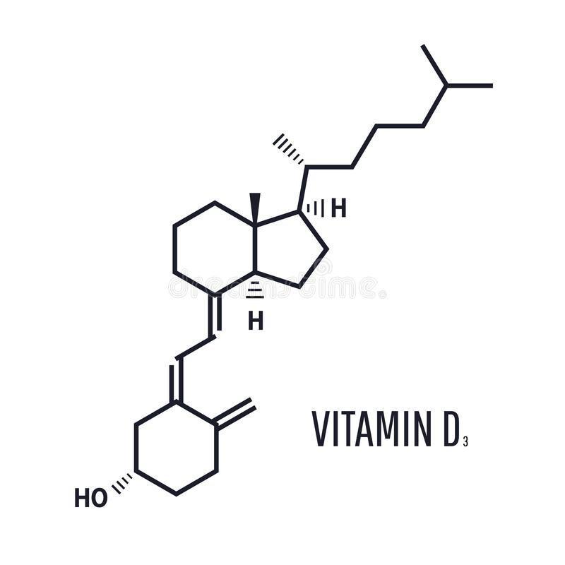formeln för vitamin D ser till absorberingen av kalcier och fosfor från mat stock illustrationer