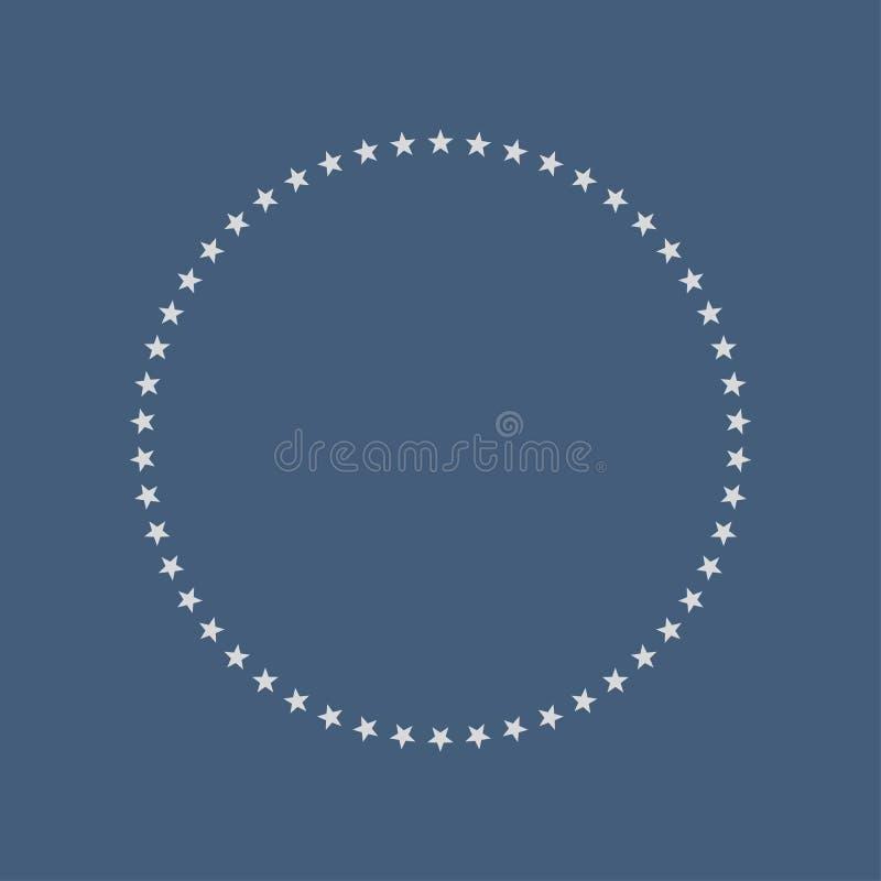Formen Sie Vektorsterne in einem Kreis, der der Mitte orientiert wird silberner Stern 50 auf einem blauen Hintergrund lizenzfreie abbildung