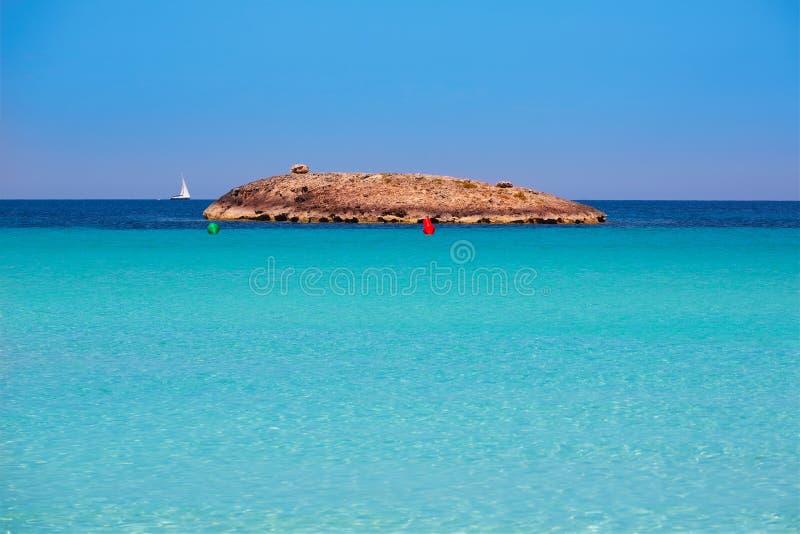 formentera海滩的Illetes Illetas海岛在拜雷阿尔斯 免版税库存图片