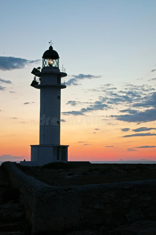 Formentera, Balearic Islands, Spain, Europe, lighthouse, Cap de Barbaria, sunset point, Mediterranean Sea, nature, landscape. Cap de Barbaria Lighthouse with the stock photos