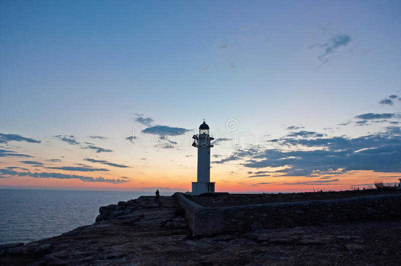 Formentera, Balearic Islands, Spain, Europe, lighthouse, Cap de Barbaria, sunset point, Mediterranean Sea, nature, landscape. Cap de Barbaria Lighthouse at royalty free stock images