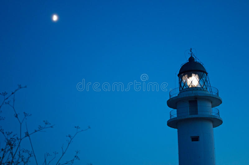 Formentera, Balearic Islands, Spain, Europe, lighthouse, Cap de Barbaria, sunset point, night, moon, moonlight, nature, landscape. The moon and Cap de Barbaria stock images