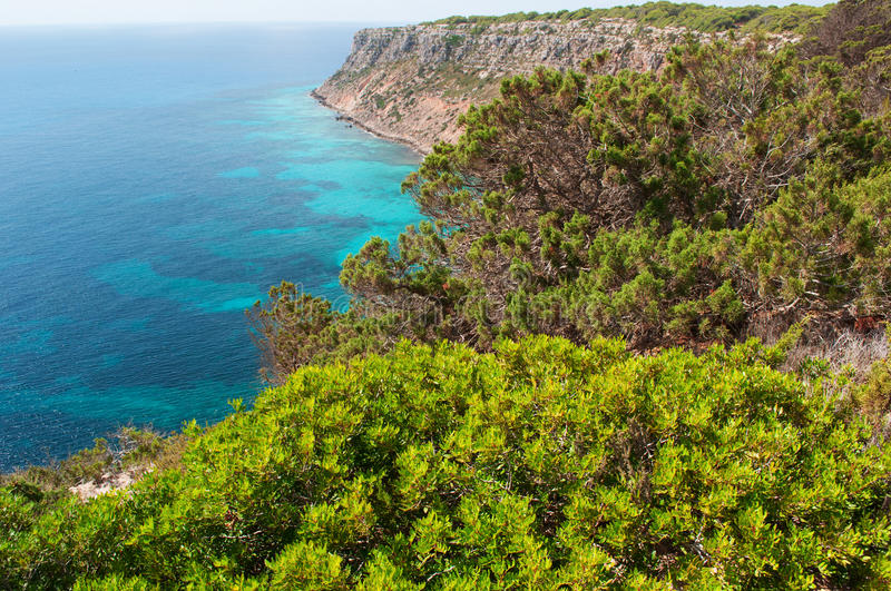 Formentera, Balearic Islands, Spain, Europe, cliff, Mediterranean Sea, nature, landscape, panoramic royalty free stock photography