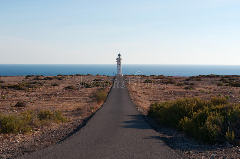 Formentera, Balearic Islands, Spain, Europe, lighthouse, Cap de Barbaria, sunset point, Mediterranean Sea, nature, landscape stock photo