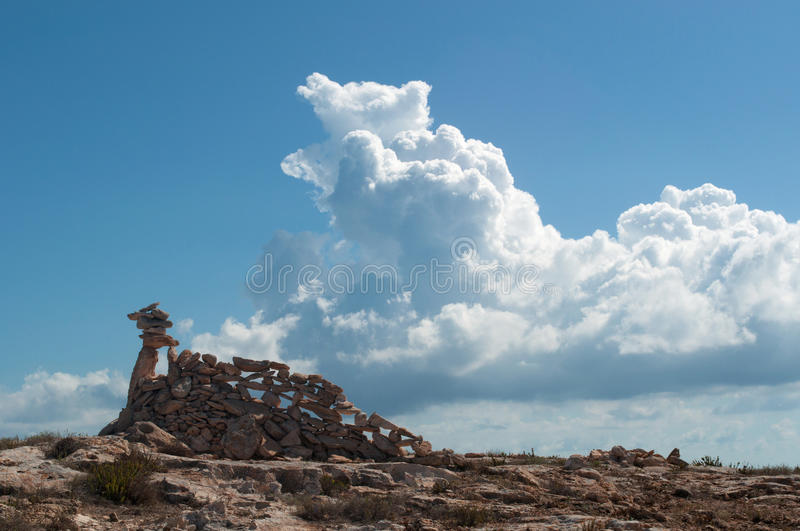 Formentera, Balearic Islands, Spain, Europe, rock, rocks, castle, beach, nature, landscape stock photo