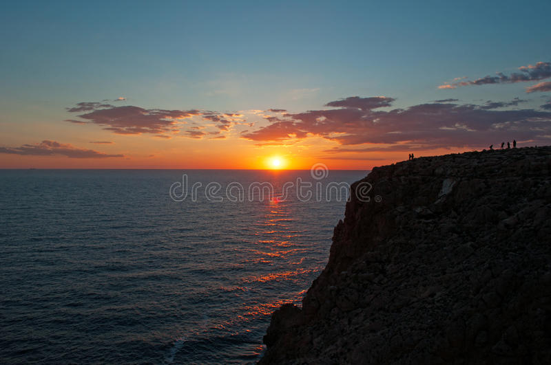 Formentera, Balearic Islands, Spain, Europe, sunset, cliff, Cap de Barbaria, sunset point, Mediterranean Sea, nature, landscape. The sunset at Cap de Barbaria on stock images