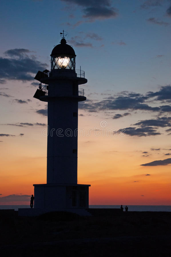 Formentera, Balearic Islands, Spain, Europe, lighthouse, Cap de Barbaria, sunset point, Mediterranean Sea, nature, landscape. View of Cap de Barbaria Lighthouse stock image