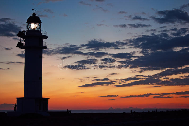Formentera, Balearic Islands, Spain, Europe, lighthouse, Cap de Barbaria, sunset point, Mediterranean Sea, nature, landscape. View of Cap de Barbaria Lighthouse stock photos