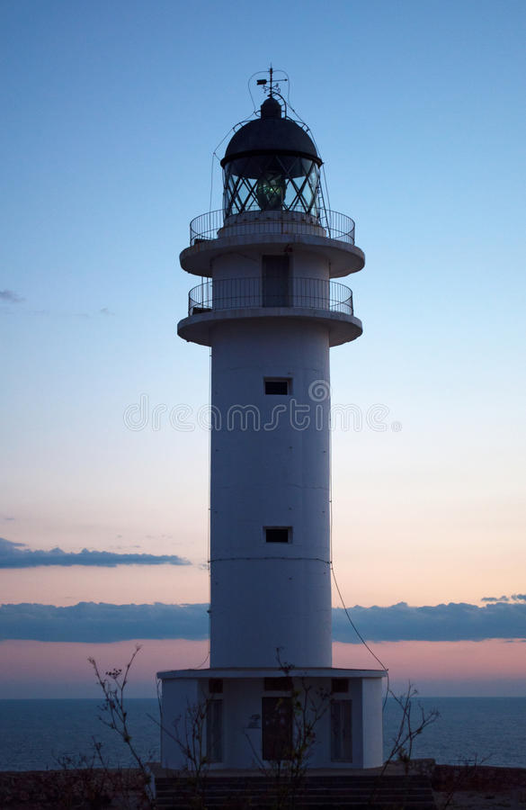 Formentera, Balearic Islands, Spain, Europe, lighthouse, Cap de Barbaria, sunset point, Mediterranean Sea, nature, landscape. View of Cap de Barbaria Lighthouse royalty free stock photography