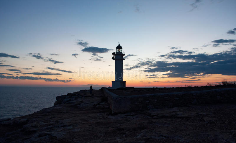Formentera, Balearic Islands, Spain, Europe, lighthouse, Cap de Barbaria, sunset point, Mediterranean Sea, nature, landscape. View of Cap de Barbaria Lighthouse royalty free stock photos