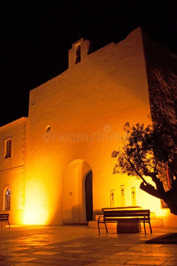 Formentera, Balearic Islands, Spain, Europe, church, Sant Francesc Xavier, architecture, night, skyline stock photo