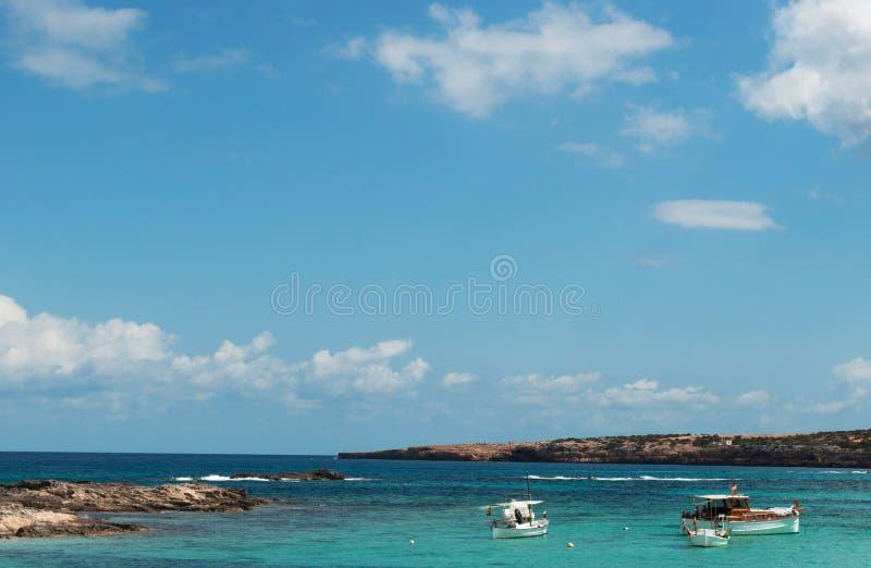 Formentera, Balearic Islands, Spain, Europe, Mediterranean Sea, nature, landscape, boat, sailing royalty free stock image