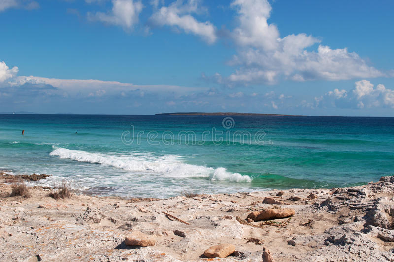 Formentera, Balearic Islands, Spain, Europe, rock, sand, beach, nature, landscape, Mediterranean Sea, summer stock photography