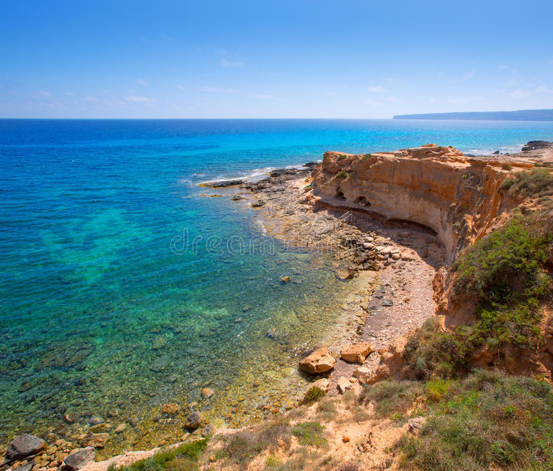 Formentera Cala en Baster in Balearic Islands of Spain stock image