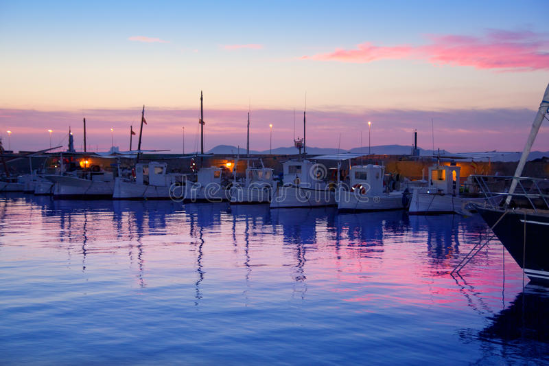 Formentera pink sunset in port marina