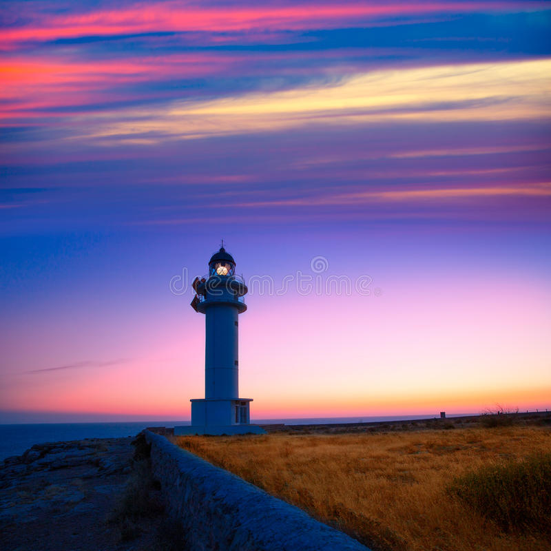 Formentera sunset in Barbaria cape lighthouse. At Balearic Mediterranean islands stock images