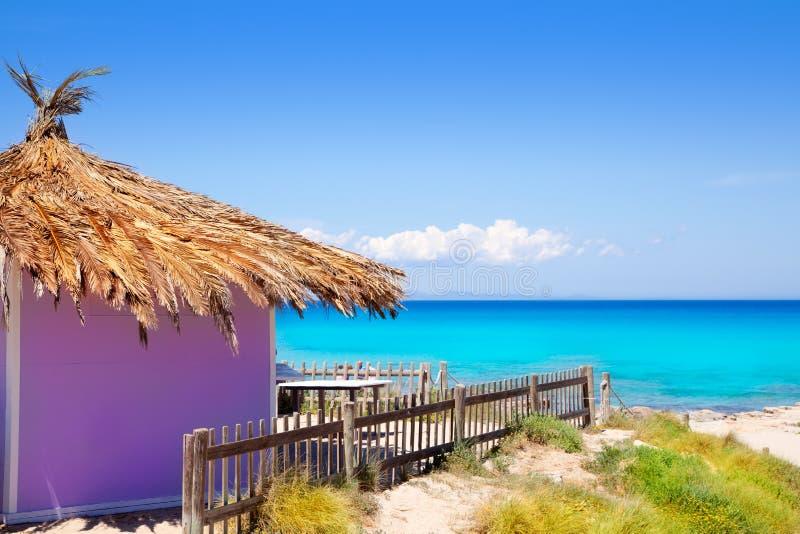 Formentera-tropische purpurrote Hütte auf Türkisstrand lizenzfreie stockbilder