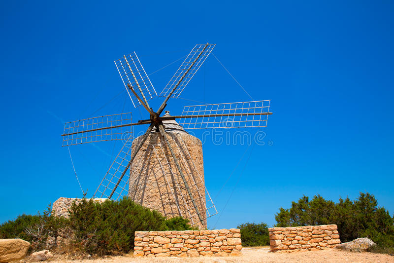 Formentera Windmill wind mill vintage masonry and wood stock image