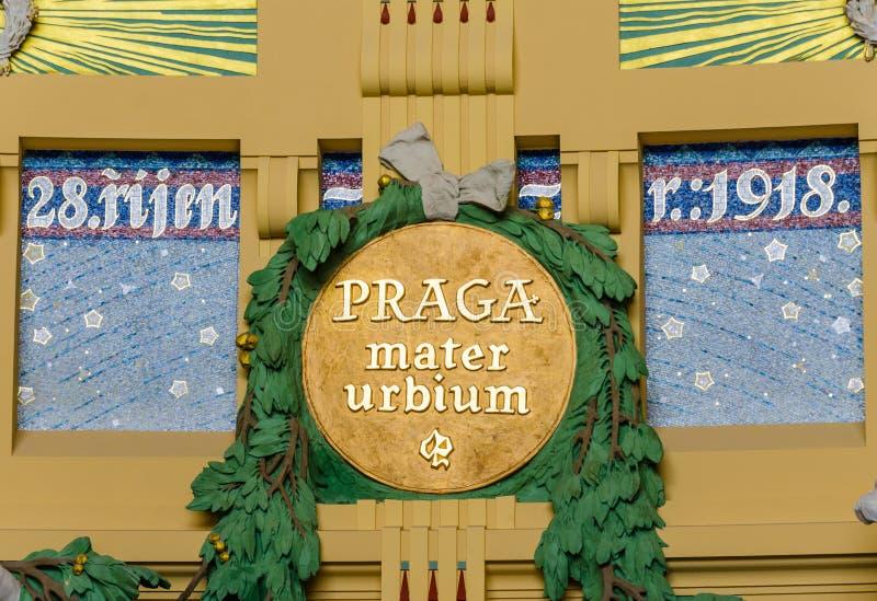 Former art nouveau in the historical building of Prague railway station, Czech Republic stock images